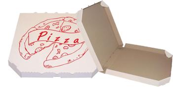 Obrázek Pizza krabice, 40 cm, bílo hnědá s potiskem